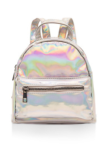 Mini Holographic Backpack,SILVER,large