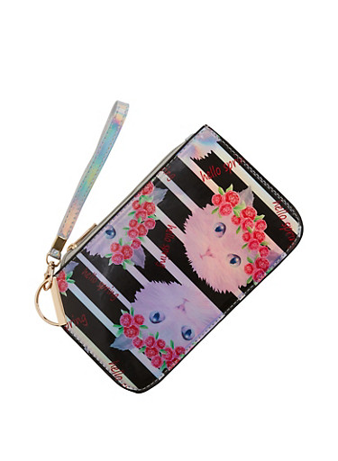 Hello Spring Cat Graphic Clutch,BLACK,large