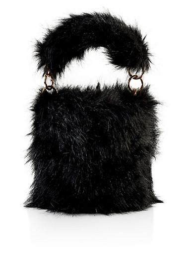 Faux Fur Bucket Bag,BLACK,large