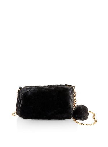 Faux Fur Barrel Chain Crossbody Bag,BLACK,large