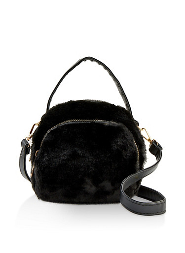 Small Double Zip Faux Fur Crossbody Bag,BLACK,large