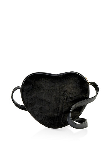 Faux Fur Heart Crossbody Bag,BLACK,large