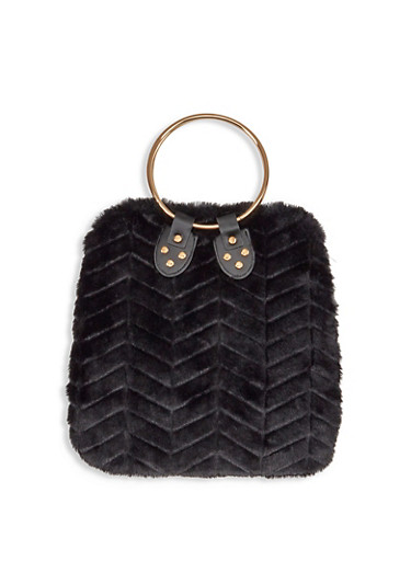 Chevron Faux Fur Handbag,BLACK,large