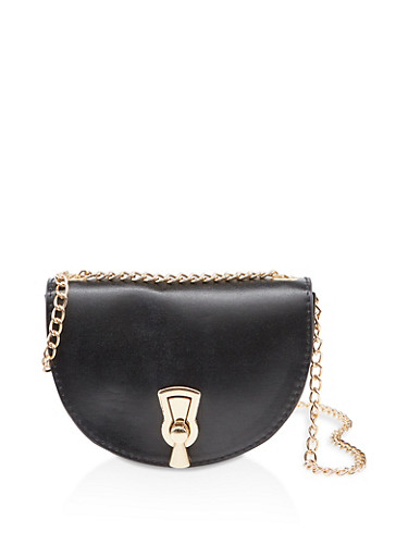 Small Chain Crossbody Saddle Bag,BLACK,large
