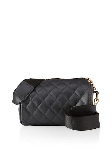 Quilted Crossbody Barrel Bag,BLACK,large