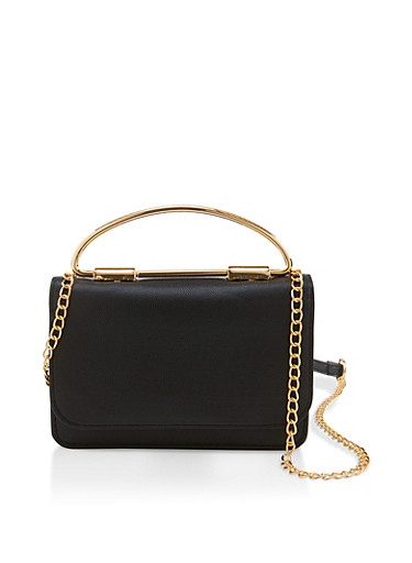 Metallic Handle Chain Crossbody Bag,BLACK,large