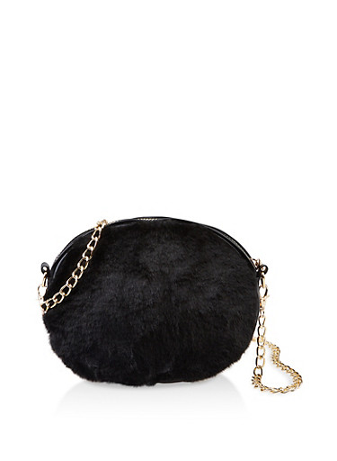Oval Faux Fur Chain Crossbody Bag,BLACK,large