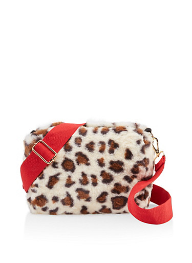Animal Print Faux Fur Crossbody Bag,RED,large