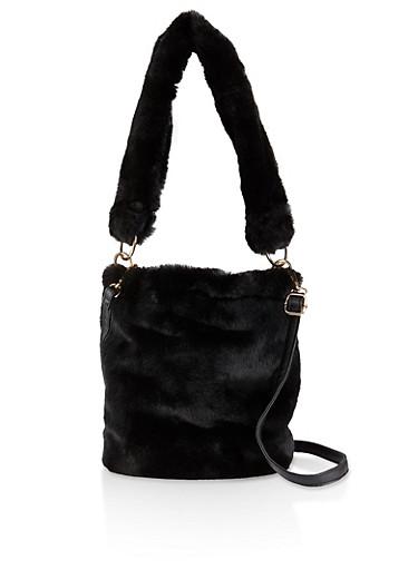 Faux Fur Crossbody Bucket Bag,BLACK,large