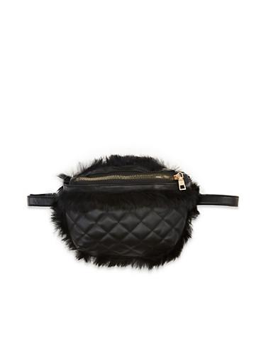 Quilted Faux Fur Trim Crossbody Bag,BLACK,large