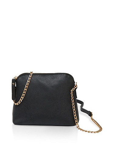 Faux Leather Chain Crossbody Bag,BLACK,large