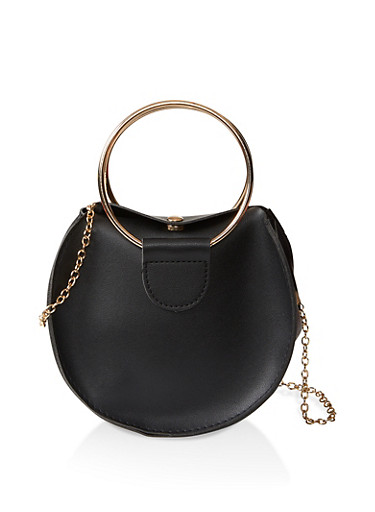 Circular Faux Leather Crossbody Bag,BLACK,large