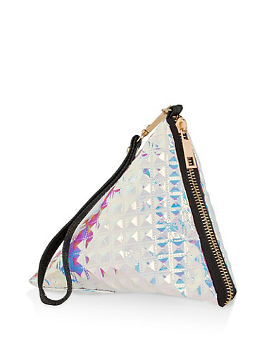 Holographic Stud Quilted Pyramid Wristlet,SILVER,large