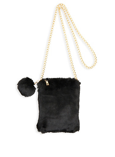 Faux Fur Pom Pom Crossbody Bag,BLACK,large