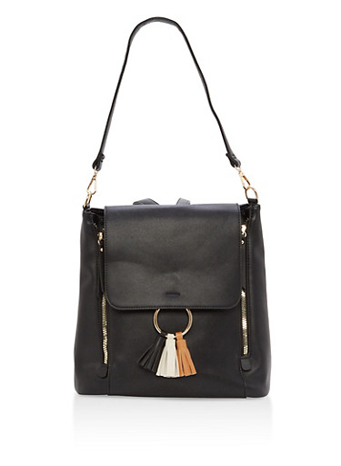 Faux Leather Tassel Detail Convertible Backpack,BLACK,large