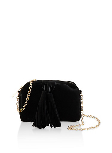 Small Faux Suede Crossbody Bag,BLACK,large