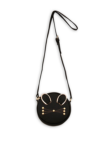 Round Cat Crossbody Bag,BLACK,large