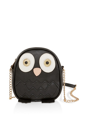 Owl Crossbody Bag,BLACK,large