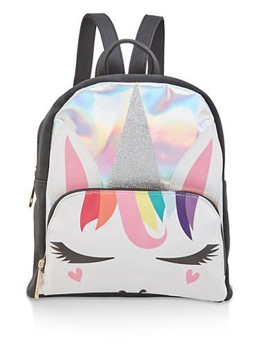 Holographic Glitter Unicorn Backpack,BLACK,large