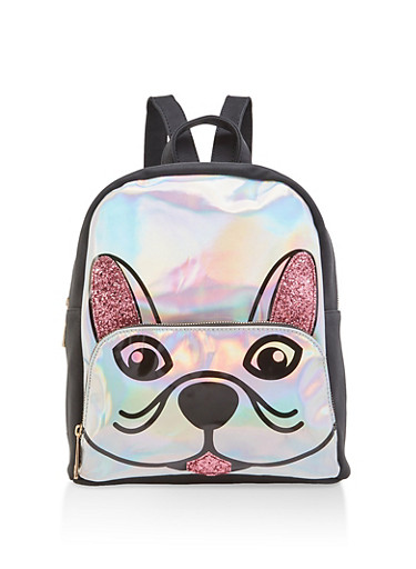 Holographic Glitter Dog Backpack,BLACK,large