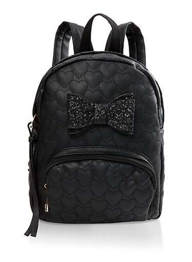 Glitter Bow Faux Leather Backpack,BLACK,large