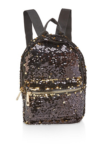 Small Reversible Sequin Backpack,BLACK,large