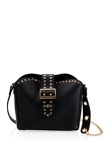Studded Faux Leather Handbag,BLACK,large
