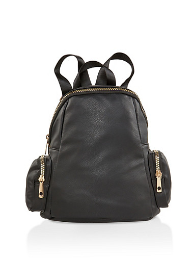 Faux Leather Zip Backpack,BLACK,large