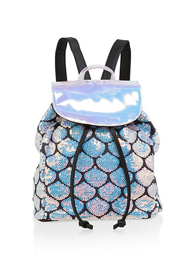 Holographic Sequin Backpack,BLACK,large