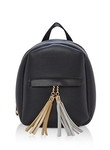 Small Faux Leather Tassels Backpack,BLACK,large