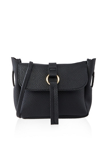 Textured Faux Leather Crossbody Bag | 1124073890050,BLACK,large