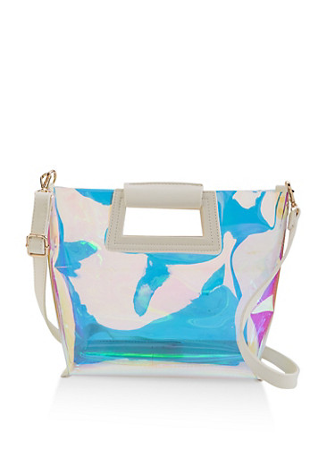 Iridescent Crossbody Bag,WHITE,large