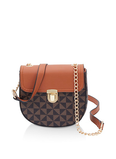Color Blocked Faux Leather Crossbody Bag,BROWN,large