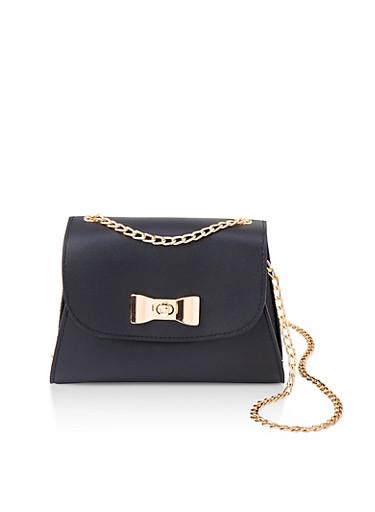 Metallic Bow Detail Crossbody Bag,BLACK,large