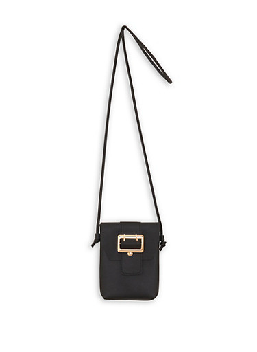 Faux Leather Buckle Accent Crossbody Bag,BLACK,large