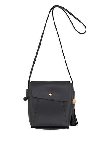 Faux Leather Crossbody Bag with Tassel Detail,BLACK,large