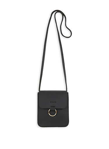 Faux Leather Ring Detail Crossbody Bag,BLACK,large
