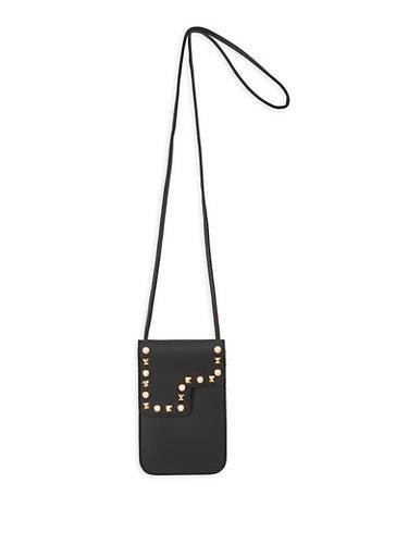 Faux Pearl Studded Crossbody Bag,BLACK,large