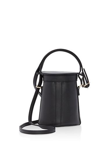 Small Crossbody Bucket Bag,BLACK,large