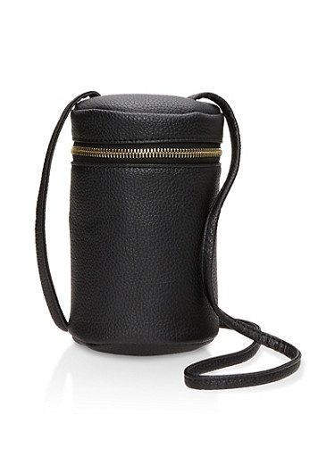 Faux Leather Bucket Crossbody Bag,BLACK,large