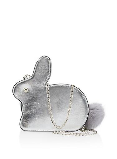 Bunny Pom Pom Crossbody Bag,SILVER,large