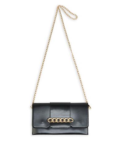 Chain Detail Crossbody Bag,BLACK,large