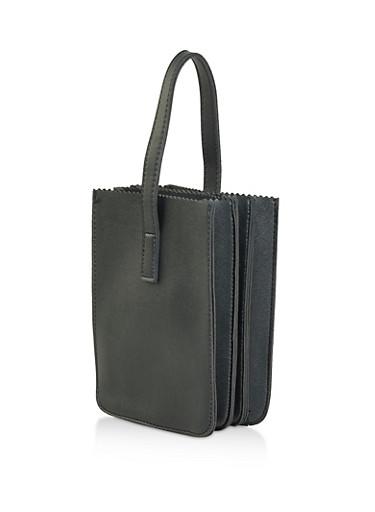 Mini Accordion Tote Bag,BLACK,large
