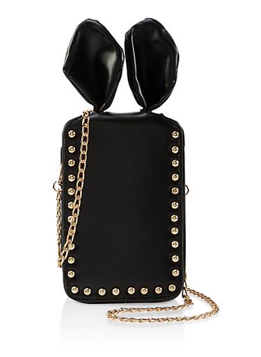 Studded Bunny Ear Chain Crossbody Bag,BLACK,large