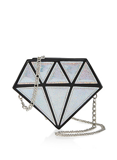 Holographic Diamond Faux Leather Crossbody Bag,SILVER,large