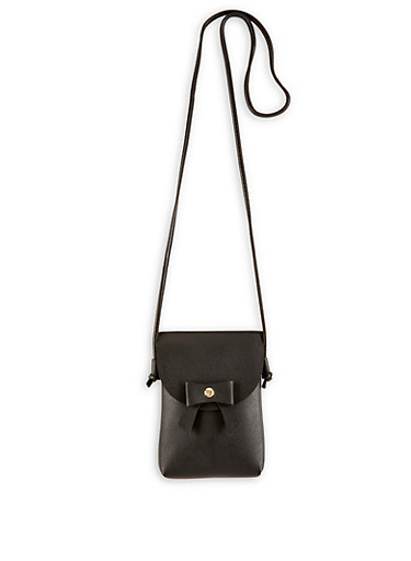 Bow Faux Leather Crossbody Bag,BLACK,large