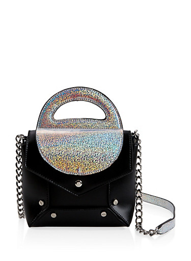 Faux Leather Color Block Crossbody Bag,SILVER,large