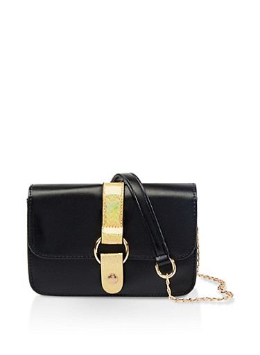 Small Chain Crossbody Satchel,BLACK,large