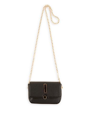 Pebbled Faux Leather Crossbody Bag,BLACK,large