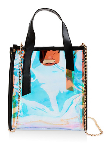 Iridescent Crossbody Tote Bag,BLACK,large